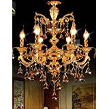 Modern Gold Color LED Crystal Chandelier With 6 Arms For Living Room Bedroom And Dining Room Lighting , white-110-120v