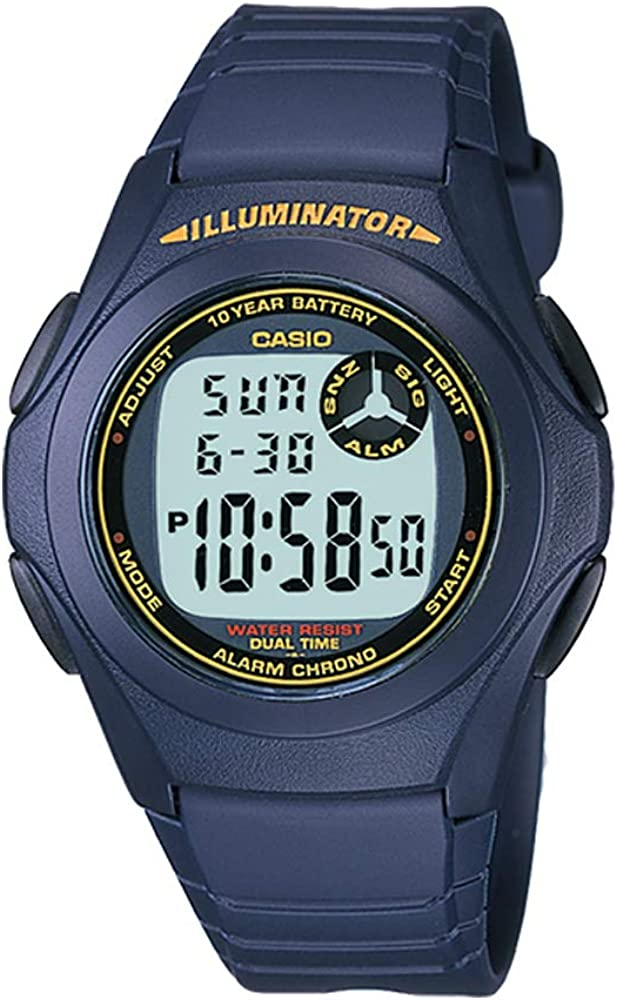 Casio F200W-2B Unisex Blue Dual Time Alarm Chronograph Digital Watch