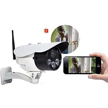Videovigilancia de vídeo cámara exterior 720P HD Cámara impermeable con visión nocturna, Micro y altavoz, detector de movimiento: Amazon.es: Electrónica