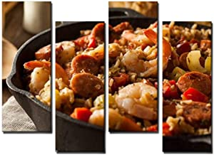 Wocatton Spicy Homemade Cajun Jambalaya Food Photography Stock Pictures Wall Art Background Decor Pictures Print On Canvas Art Stretched and Framed Perfect Home Decoration