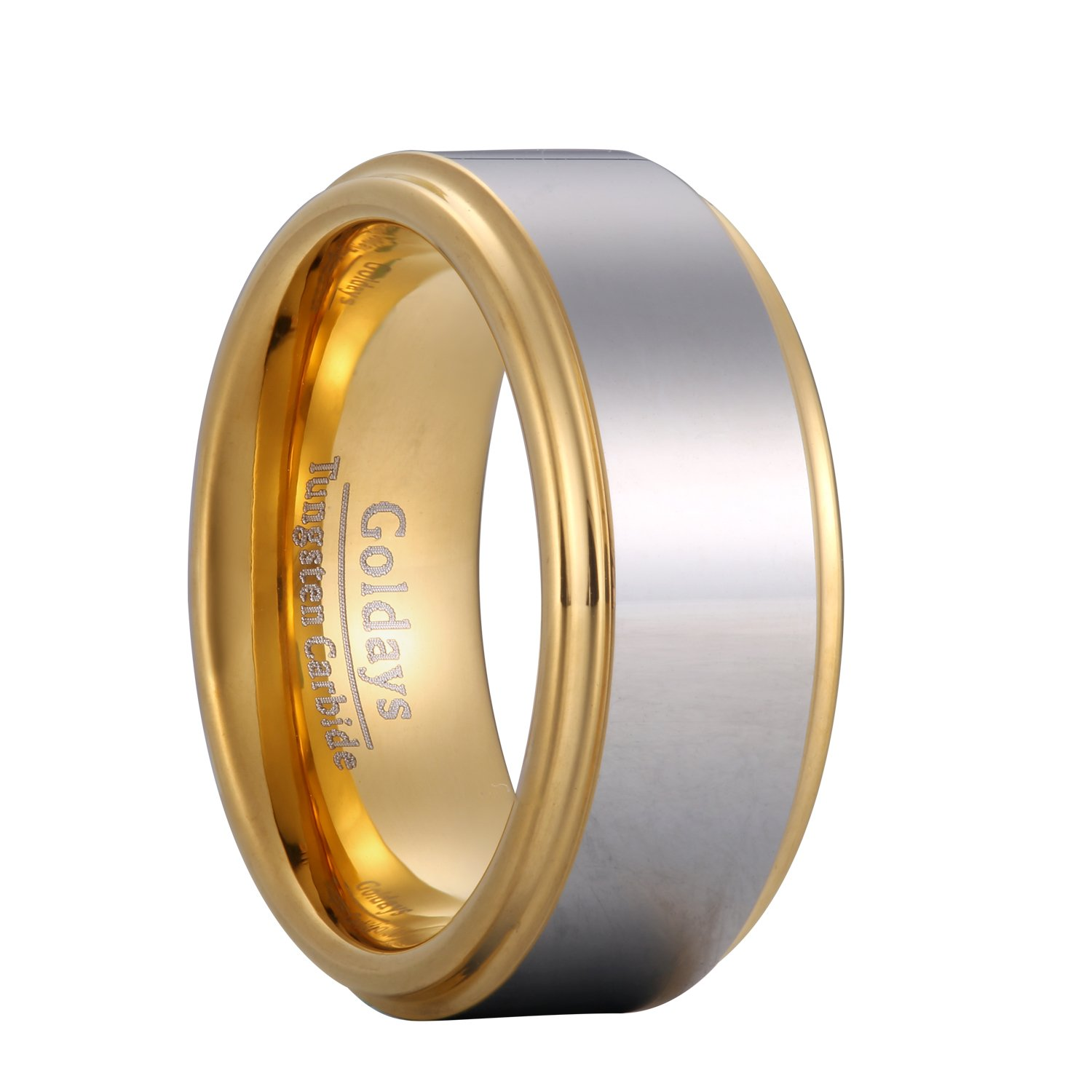 GOLDAYS Unisex 8mm 18k Gold Plated Tungsten Carbide Ring Two Tone Wedding Band Ring Size6-13