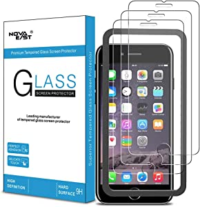 Novaeast Screen Protector for iPhone 8 Plus, iPhone 7 Plus, iPhone 6S Plus and iPhone 6 Plus Tempered Glass Screen Protector 5.5-Inch with Easy Install Frame, 3-Pack
