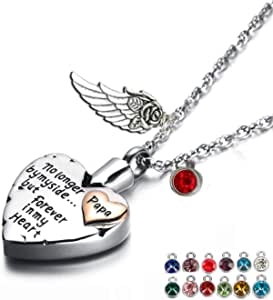 Heart Cremation Urn Necklace for Ashes Urn Jewelry Memorial Pendant with Fill Kit and Gift Box - Always on My Mind Forever in My Heart
