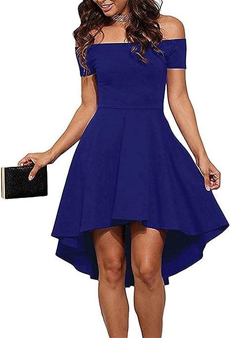 Yigoo Festliche Elegant Kleider Damen Festlich Hochzeit Asymetrisch Vintage  Abendkleid Schulterfrei Cocktailkleid Knielang A-line Blau M