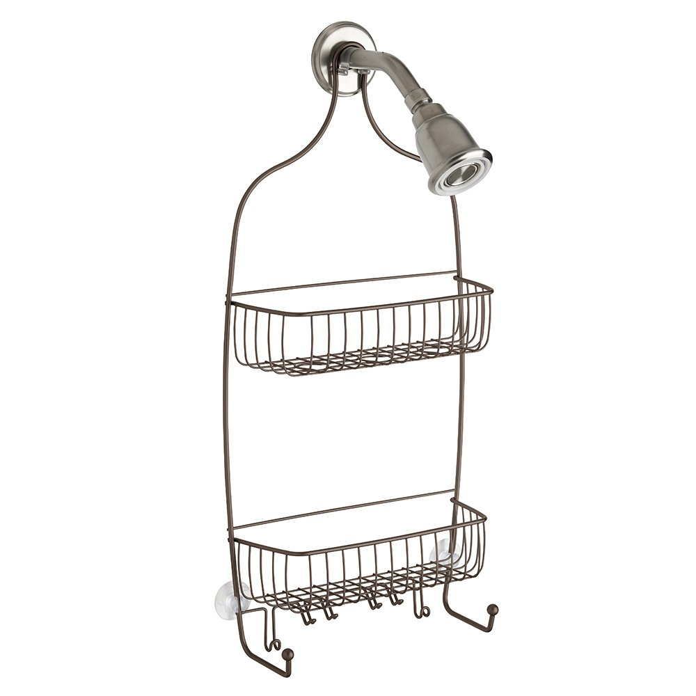 InterDesign Raphael Bathroom Shower Caddy for Tall Shampoo Bottles, Conditioners, Soap-Extra Long, Silver 02846