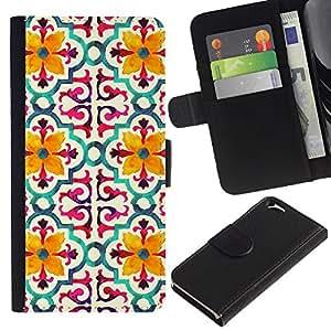 KingStore / Leather Etui en cuir / Apple Iphone 6 / Modelo de flor estilizada Amarillo