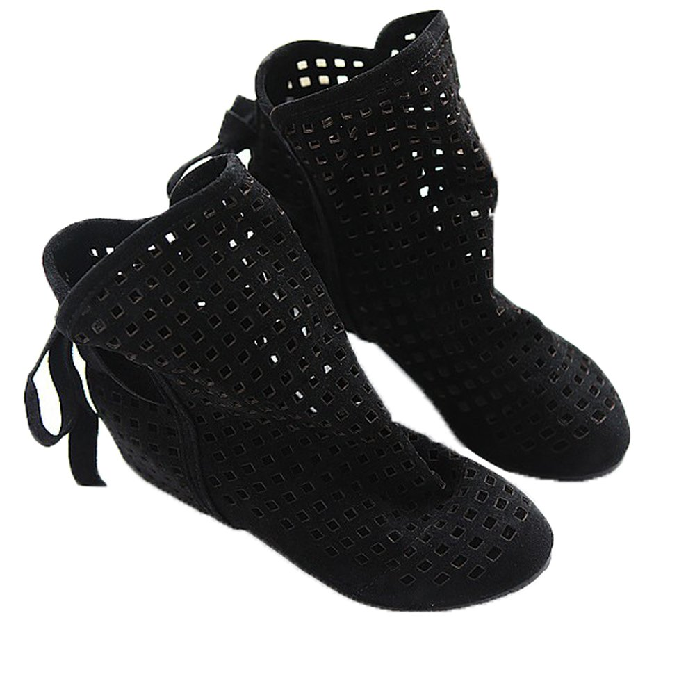 Women Autumn Fashion Roma Casual Flock Flat Hollow Out Slip on Low Hidden Wedge Summer Ankle Boots Black 7 B(M) US/EU 38