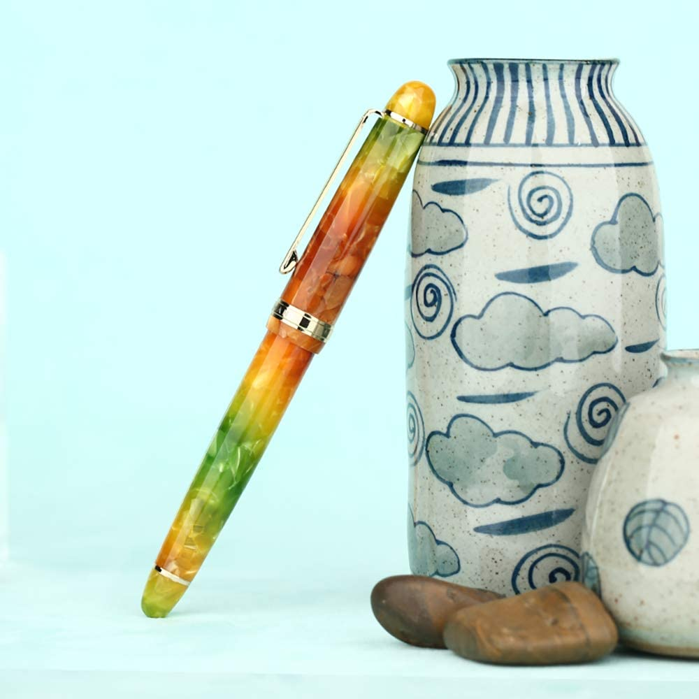 hojas de oto/ño acr/ílico iridio punta fina bol/ígrafo Moonman S3 pluma estilogr/áfica borde dorado regalo de negocios