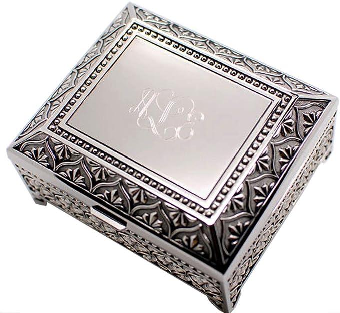 Letter U Monogram Pendant Oval Trinket Jewelry Box