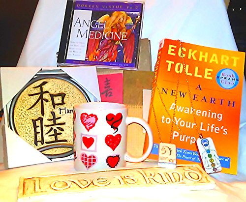 Eckhart Tolle a New Earth Book (Set) - Including 9 Items (Book, Heart Tea Mug, 2 Reiki Domino Necklaces, 1 Happiness Journal & Photo Frame to Match, Love Is Kind Wall Plaque, Harmony Wall Plaque, Cd-Doreen Virtue Angel Medicine) Harmony Plaque
