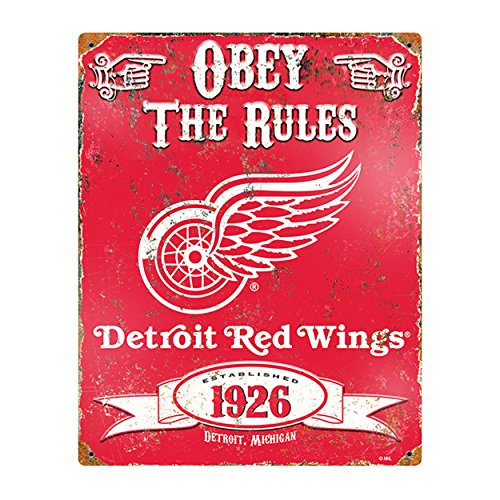 Party Animal NHL Embossed Metal Vintage Detroit Red Wings Sign