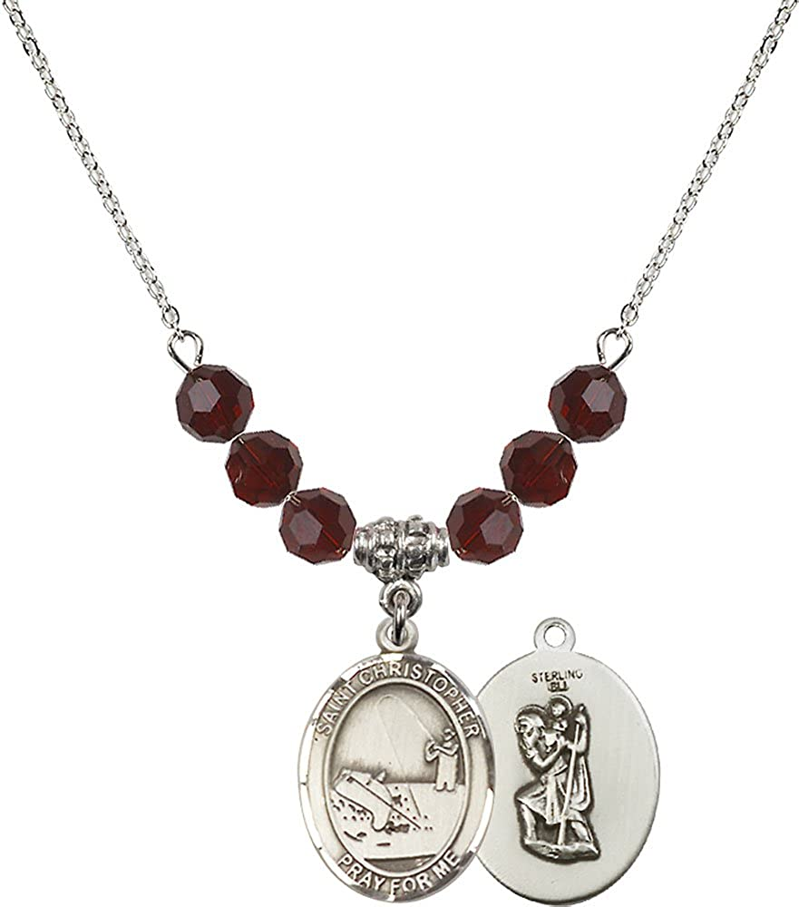 Fishing Charm. 18-Inch Rhodium Plated Necklace with 6mm Garnet Birthstone Beads and Sterling Silver Saint Christopher