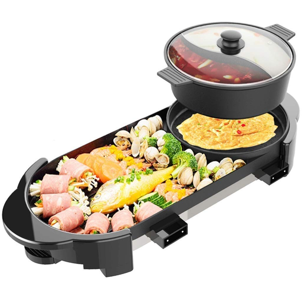 Yyqthg Multifunctional hot Pot, 2000W Electric Indoor and Ourdoor Shabu Shabu Hot Pot with Barbecue Medical Stone Non-Stick Pan for 2-12 People Gatherings by Yyqthg