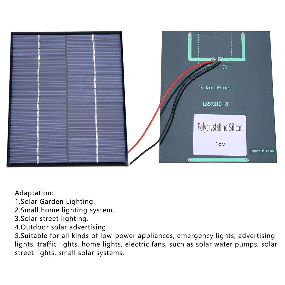 Fdit Kit De Panneau Solaire Portatif L/éger De Ville De Chargeur De Panneau Solaire De Silicium Polycristallin Adaptateur De Module dalimentation DIY 2W 18V