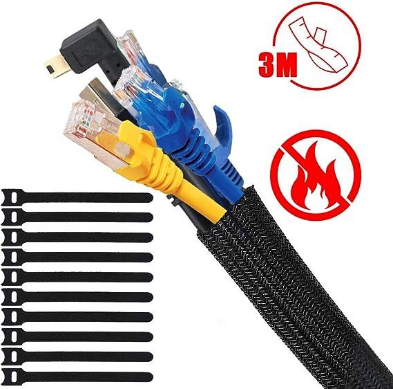 Organizador Cables, 3m Recoge Cables, Cubre Cables Flexible Funda Organizador Cables, 10 Velcro Organizador de Cables Mesa, Recoge Cables para Office y PC Escritorio: Amazon.es: Bricolaje y herramientas