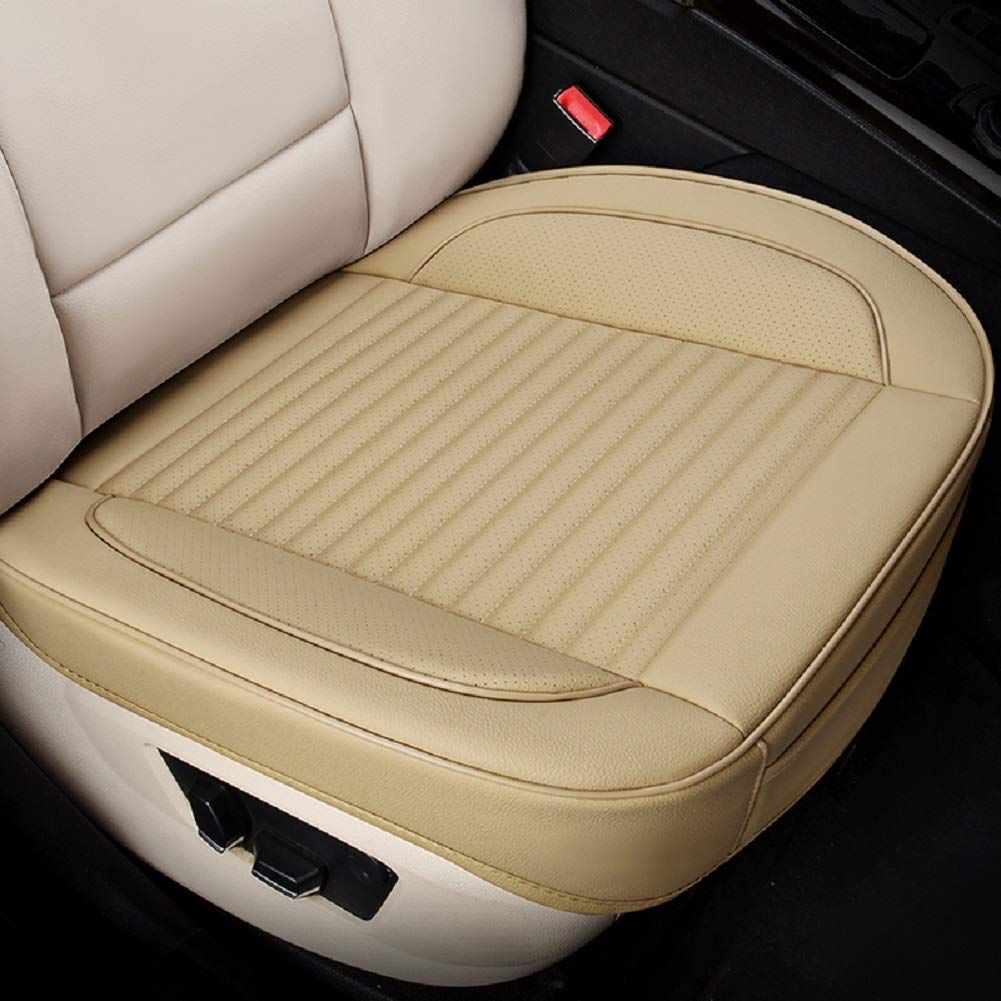 JOJOHON Car Seat Cushion, Car Seat Pad with PU Leather Bamboo Charcoal Car Seat Protector for for Auto Supplies Office Chair,Single Seat Without Backrest (2-Pack,Upgraded Beige)