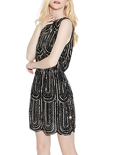 EXLURA Vintage Cocktail Party Dress 1920's Gatsby Beaded Sequin Little Black Dress