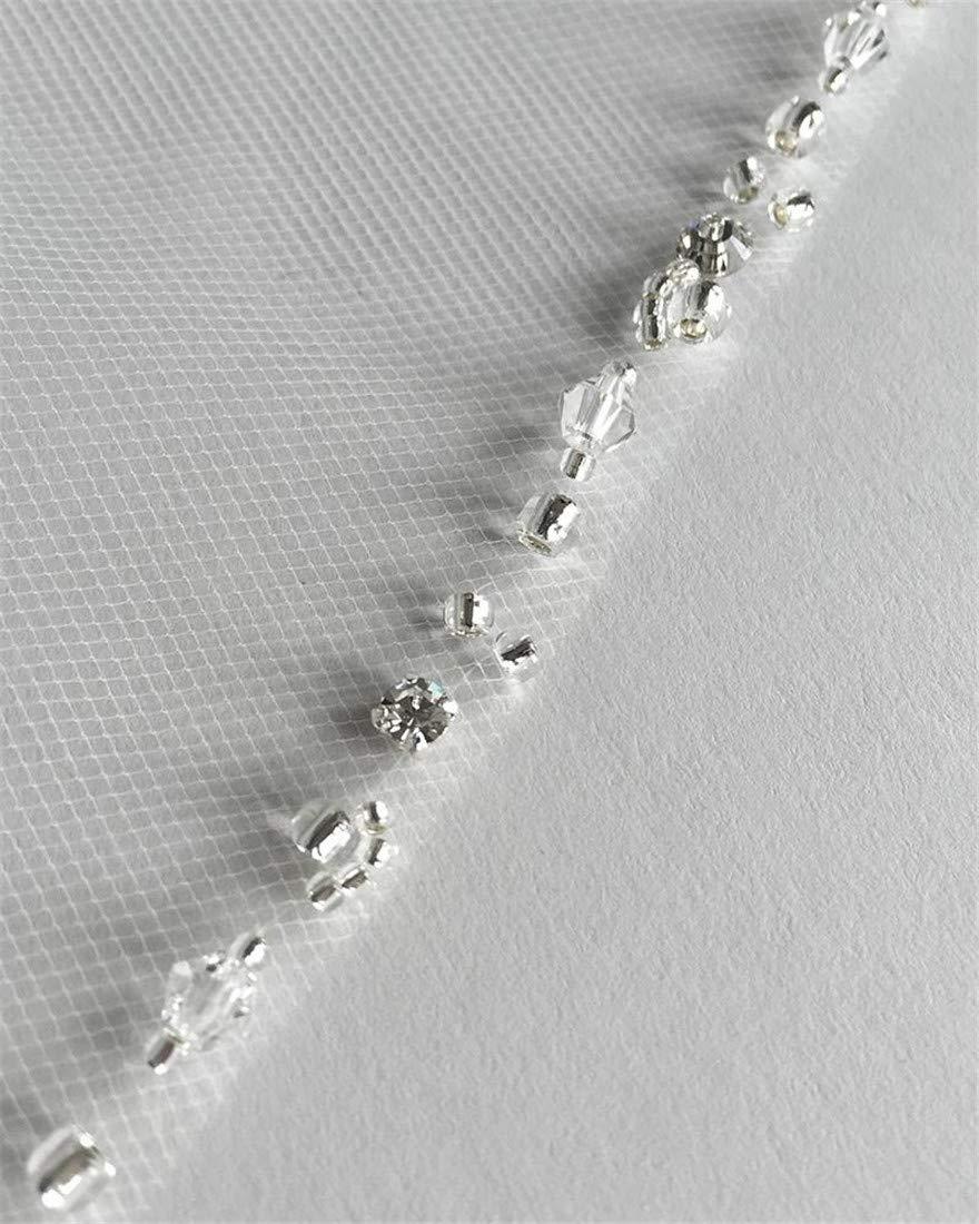 Passat Ivory 1T Long Cathedral Rhinestone Bridal Veil Comb Long Beads Veil New 106 by Passat (Image #6)
