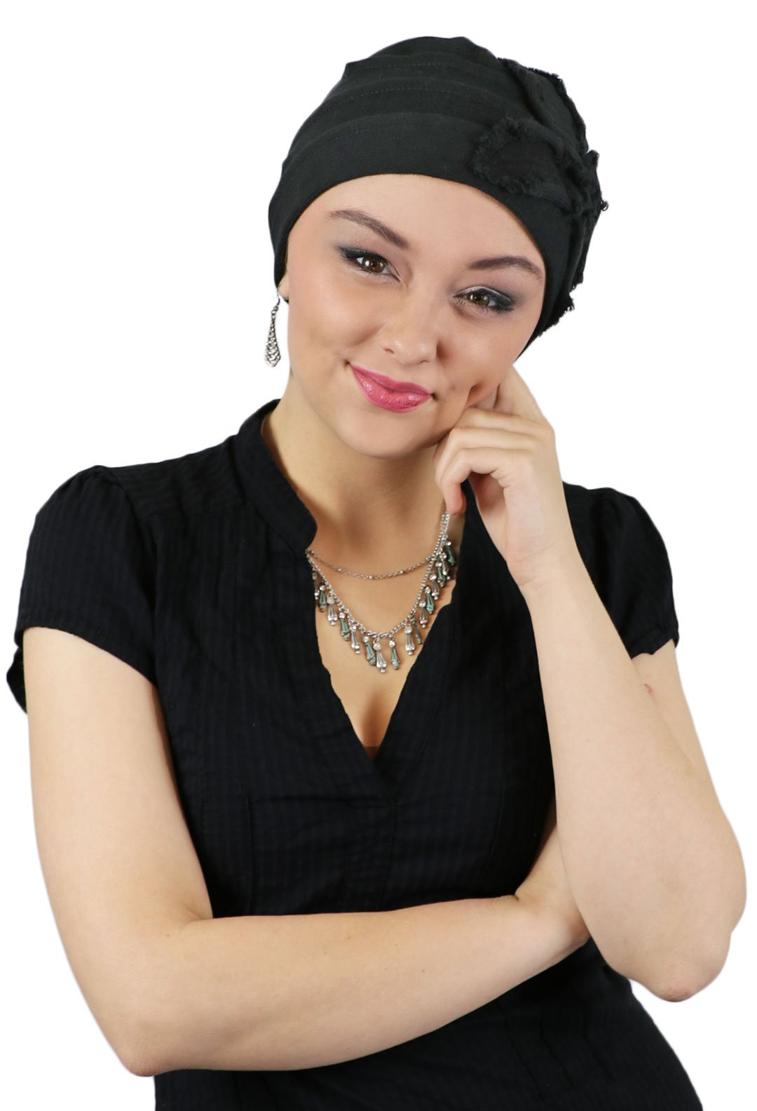 Hats For Cancer Patients Women Chemo Headwear Head Coverings Butterfly Beanie Parkhurst (BLACK)