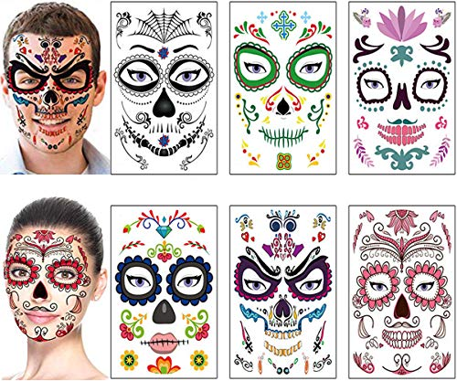 Halloween Day of The Dead Face Tattoos Makeup Kit - Sugar Skull Glitter Temporary Tattoos for Women Men Kids Halloween Party Favors Decorations Supplies (6 Sheets)