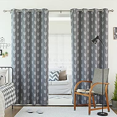 Best Home Fashion Grey Arrow Room Darkening Blackout Grommet Top Curtain 84  L - (Set of 2 Panels)