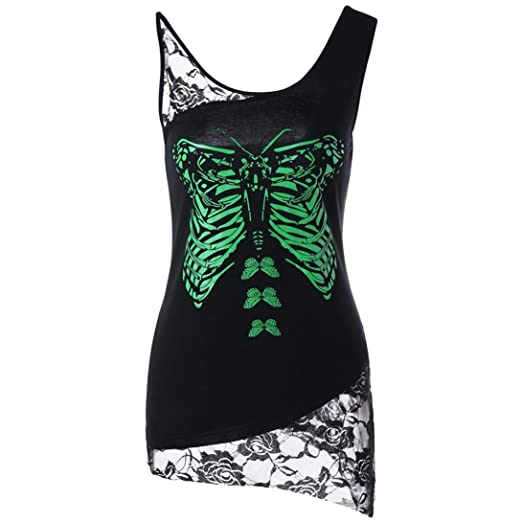Yellow Women Sleeveless Shirts and Blouses Butterfly Print Lace Tops Patchwork Sexy Cami Vest (M