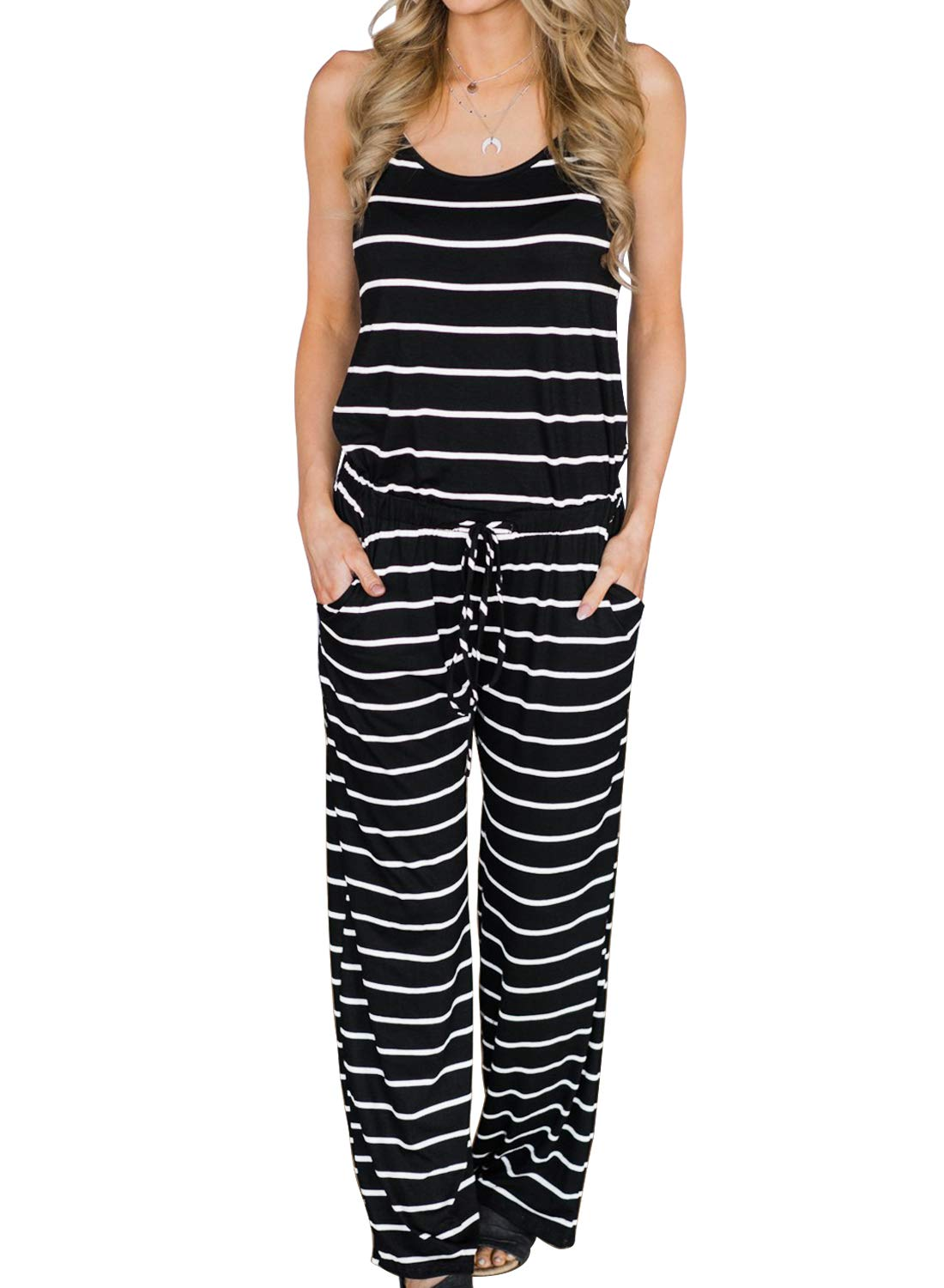 MIHOLL Women's Summer Striped Jumpsuit Casual Loose Sleeveless Jumpsuit Rompers (XX-Large, C-White Black)