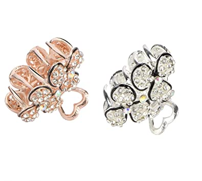 7655b2465 Buy STRIPES 2 Piece Gold and Silver Crystal Metal Hair Clutcher Hair  Accessory for Girls & Women Online at Low Prices in India | Amazon Jewellery  Store ...
