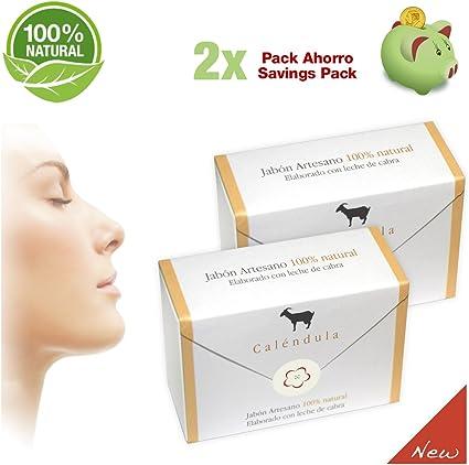Jabones del Pirineo - Pack de 2 Jabones de Leche de Cabra con Caléndula 100% Natural para Pieles Sensibles. Regenerador dérmico: Amazon.es: Belleza