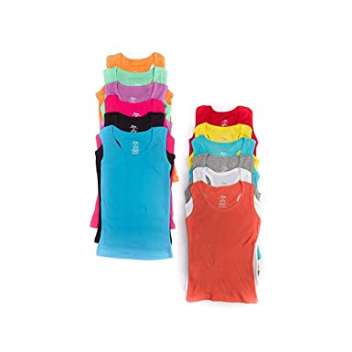 3abd1d54878a9e 12 Pieces Pack Women s Ribbed 100% Cotton Tank Tops-Assorted Color (Small)
