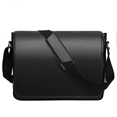 608ebb9db Leathario Men's Leather Shoulder Bag 14inch Laptop Bag Messenger Bag  Crossbody Bag Satchel Bag Black