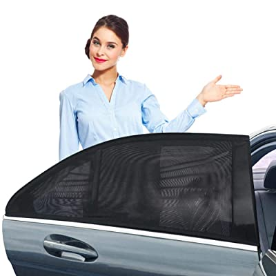 ZOTO Car Rear Window Sun Shade, Breathable Mesh Sun Shield Protect Baby Pet from Sun's Glare & Harmful UV Rays, Universal Car Curtains Fit for Cars and SUVs (Pack of 2,Large Size): Automotive