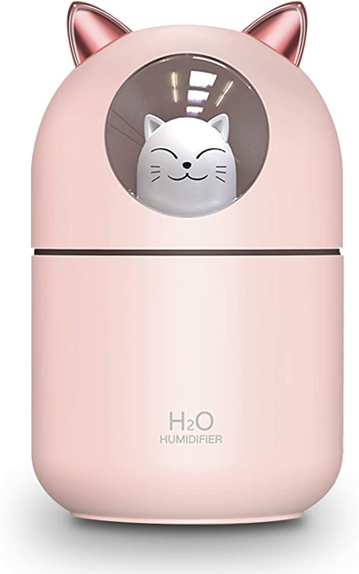 Tititek Cat Humidifier Cool Mist Humidifier for Home,Cute Cat Night Light for Bedroom Essential Pure Air for Baby Room,Easy Clean Quiet Operation Automatic Shut-off 300ML (Pink)
