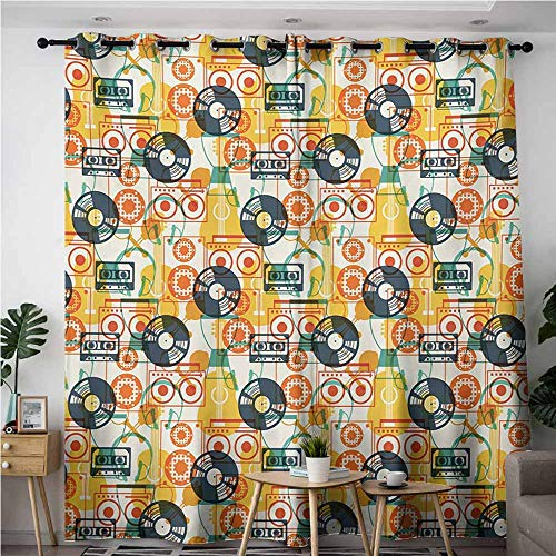 (AndyTours Simple Curtains,Music,Pattern with Musical Instruments in Flat Design Style Cassette Radio Vinyl Nostalgic,Blackout Draperies for Bedroom,W84x84L,Multicolor)