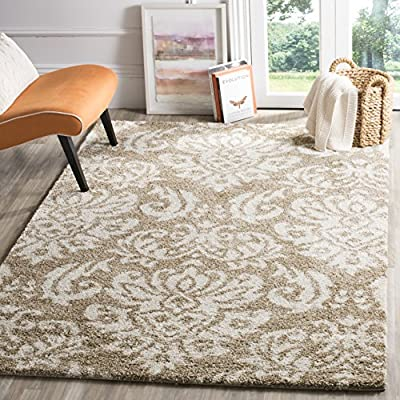 Safavieh Florida Shag Collection SG460-1311 Damask Textured 1.18-inch Thick Area Rug, 4' x 6', Beige/Cream - Virtually non-shedding rug for convenient upkeep Neutral color palette of dark brown and charcoal grey allows for a smooth integration to any décor Polypropylene power-loomed construction allows for durability and its pile height allows for ultimate comfort - living-room-soft-furnishings, living-room, area-rugs - 61YlJY8SZtL. SS400  -