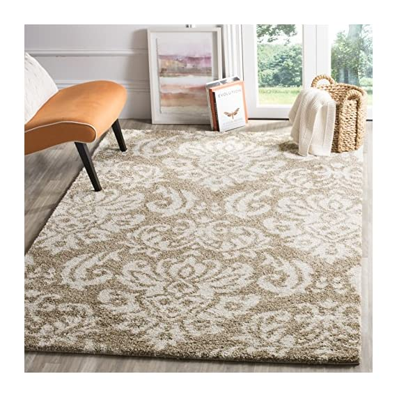 Safavieh Florida Shag Collection SG460-1311 Damask Textured 1.18-inch Thick Area Rug, 4' x 6', Beige/Cream - Virtually non-shedding rug for convenient upkeep Neutral color palette of dark brown and charcoal grey allows for a smooth integration to any décor Polypropylene power-loomed construction allows for durability and its pile height allows for ultimate comfort - living-room-soft-furnishings, living-room, area-rugs - 61YlJY8SZtL. SS570  -