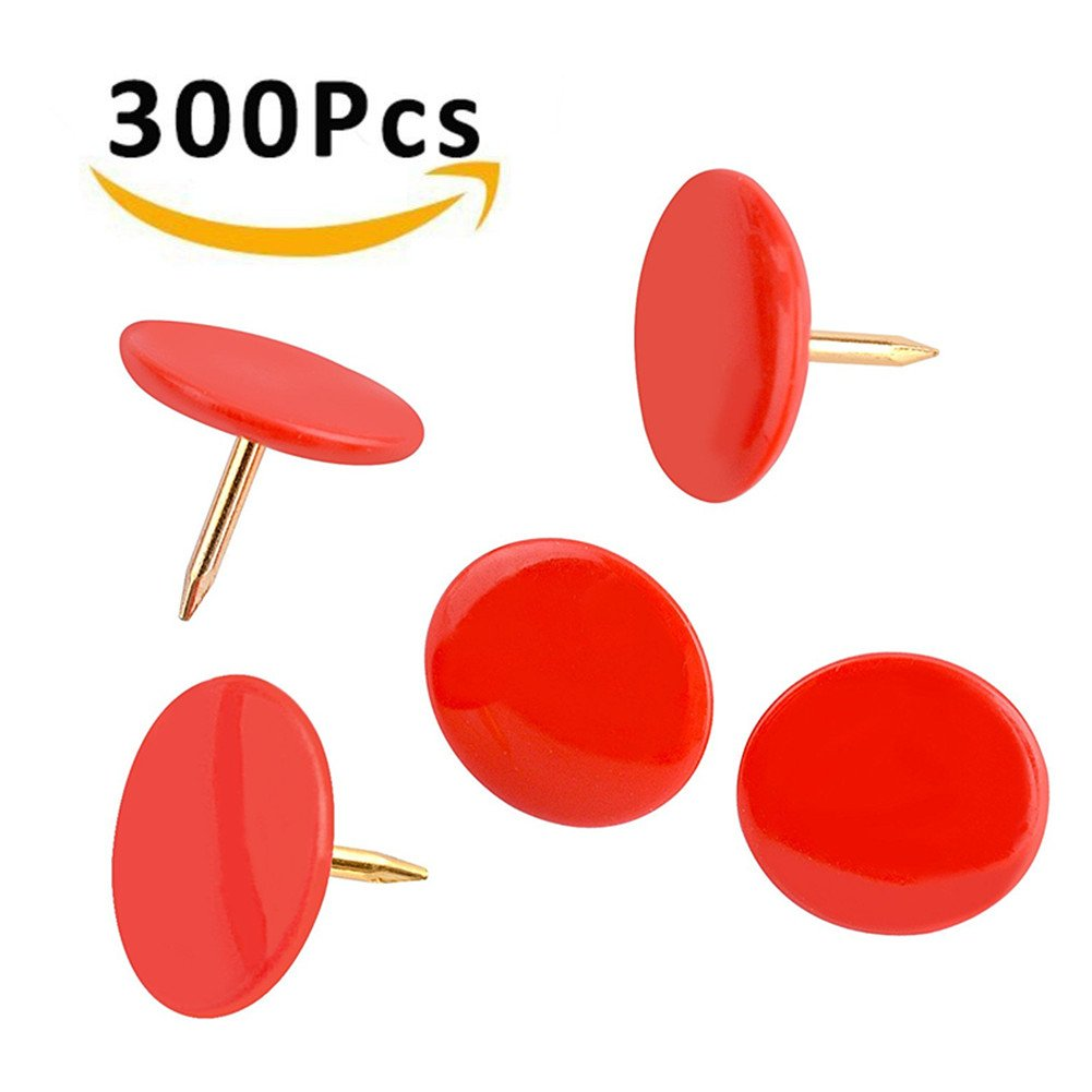 FashionMall Painted Sculpture Push Pins(Pack of 300pcs), 3/8-Inch Plastic Round Head, 5/16-Inch Steel Point Thumb Tacks for Home, Office and School Use (Black)