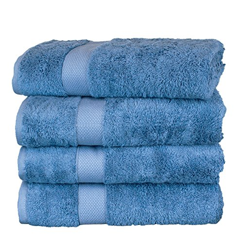 Collection 4 Home Spa Piece (BC BARE COTTON Luxury Hotel & Spa Towel Turkish Cotton Rayon Bath Set of 4, Wedgewood, 4 Piece)