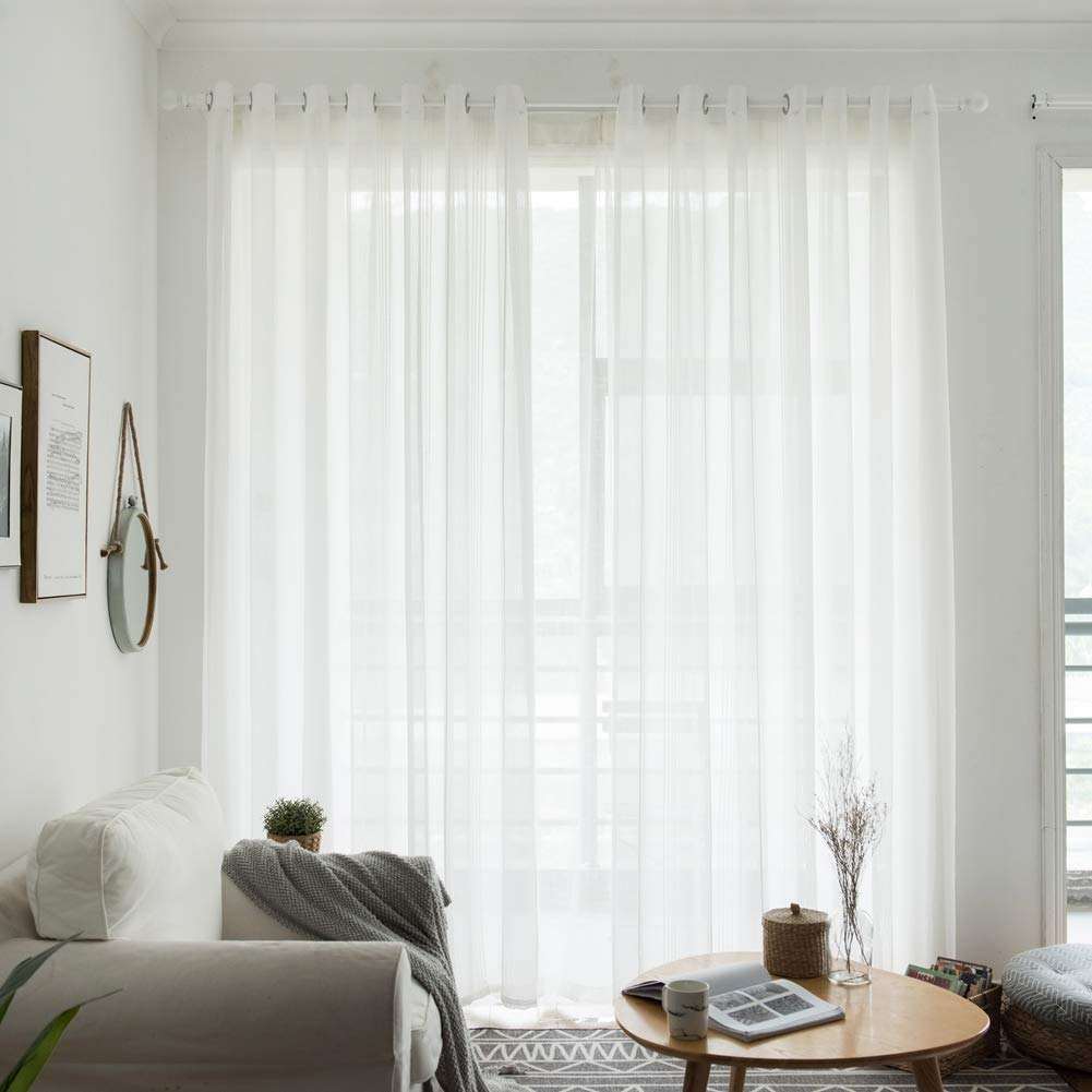 Norbi 1 pcs Japanise Style Cotton and Linen Window Curtain Modern Voile Tulle Room Sheer Scarf Valances