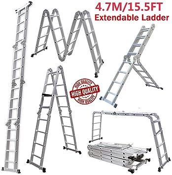 Escalera plegable multiusos para trabajar en el hogar al aire libre 14 en 1 (15,5 pies) 4,7 m 2 placas de trabajo andamio: Amazon.es: Bricolaje y herramientas