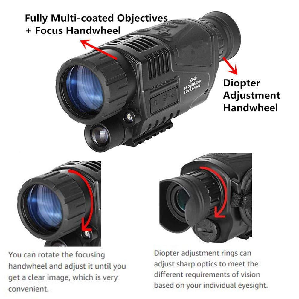 SOLOMARK 5x40 Night Vision Monocular-Infrared IR Camera with Recording Image and Video Function in Complete Darkness-for Hunting and Observing Wildlife Security Surveillance with Battery Included