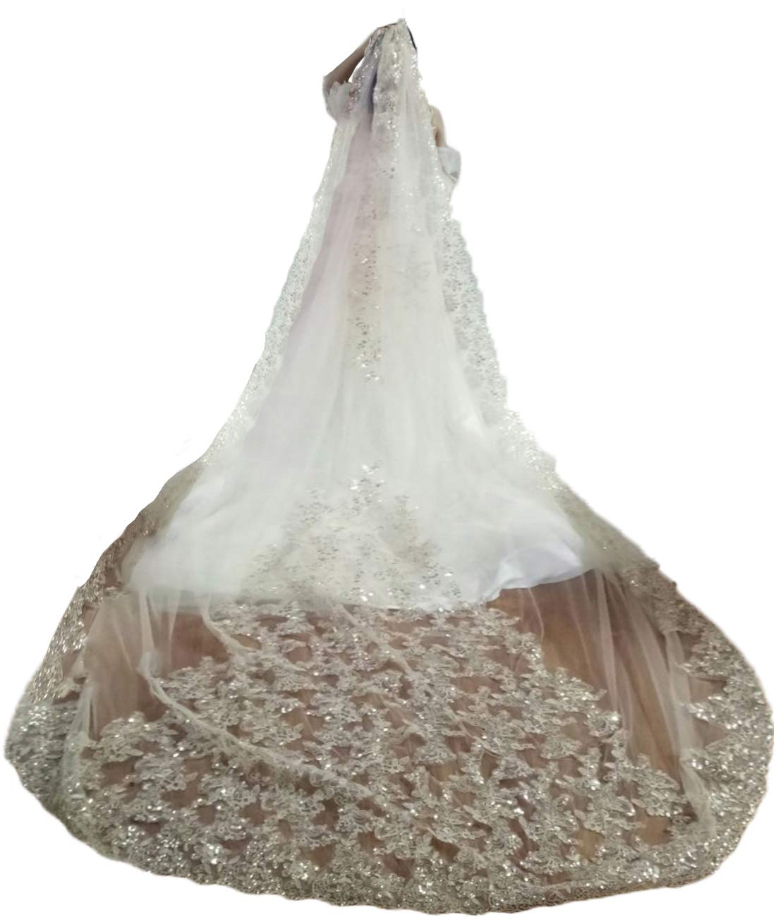 Faiokaver Wedding Veils 1 Tier Cathedral Floral Sequins Lace Bridal Accessories with Comb