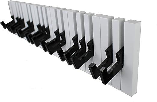 Appendiabiti a parete Bianco//Nero 16 ganci GMMH design: Pianoforte