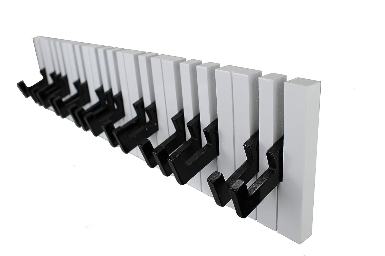 16 Ganchos, para Soporte de Pared GMMH dise/ño de Piano Ganchos para Perchero Color Blanco y Negro