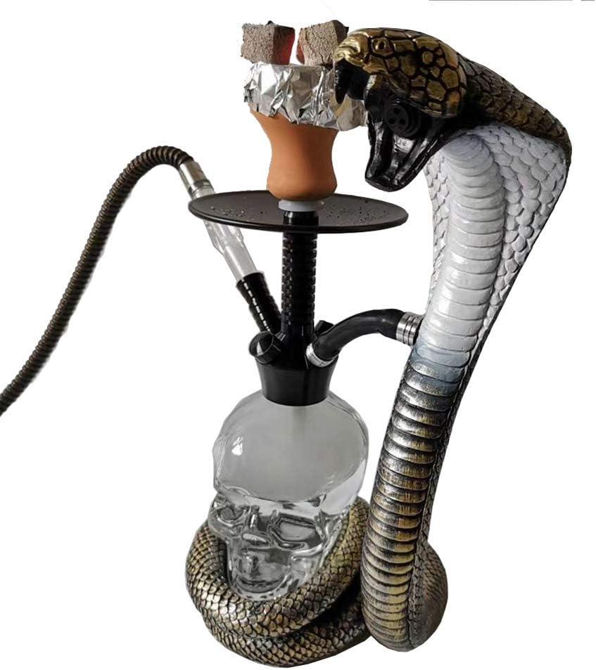 CJCJ-LOVE Personalidad Cachimba Árabe Cobra Shisha De Calavera Transparente Kit Completo con 4 Mangueras Luces LED Olla De Humo De Cerámica Bar Accesorios De Decoración