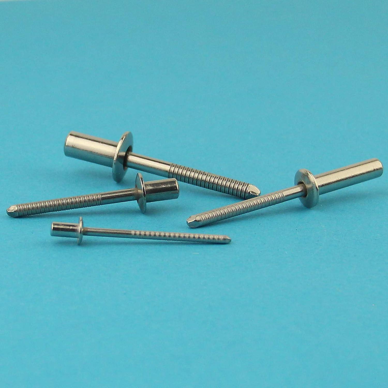 - mit Flachkopf Niet 3,2 x 12 mm Dichtblindniet Popnieten DIN 7337 Edelstahl A2 V2A rostfrei ISO 16585 100 St/ück Eisenwaren2000