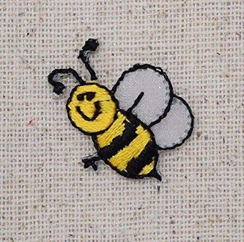 Bee Bumble Embroidered (Small/Mini Bumble Bee Smiling - Yellow/Black Iron on Applique/Embroidered Patch)