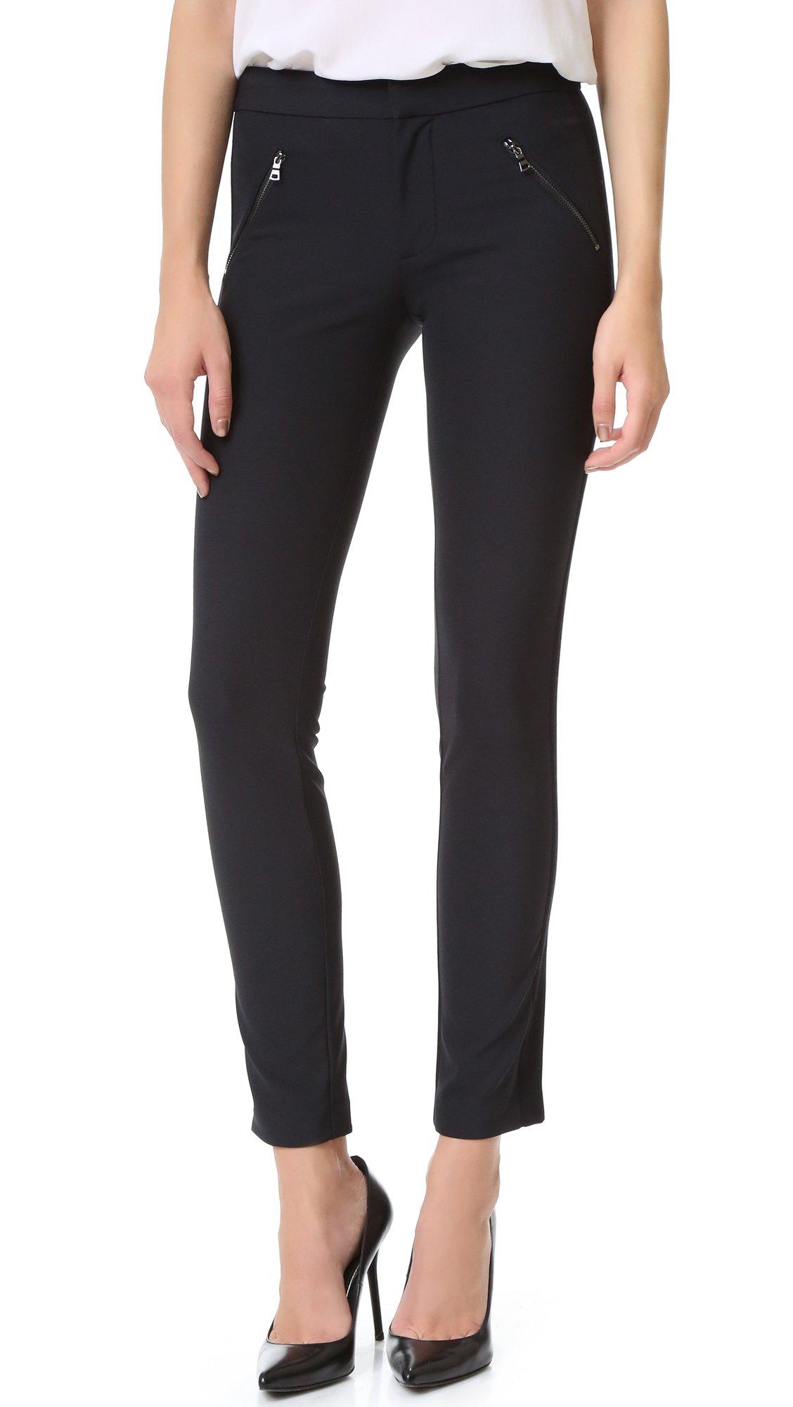 Rebecca Taylor Women's Ava Techy Slim Pant, Black, 12