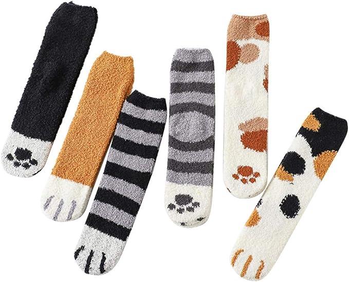 Unisex Winter Cat Claws Cute Thick Warm Sleep Floor Socks Plush Coral Xmas Gifts