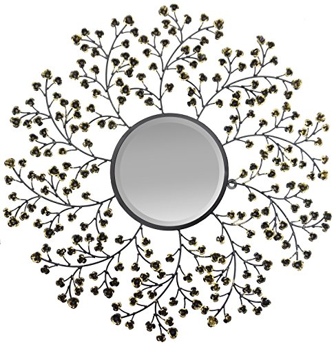 Lulu Decor, Spring Blooms Decorative Metal Wall Mirror, Black and gold metal blooms with beveled mirror, Frame Size 24.5